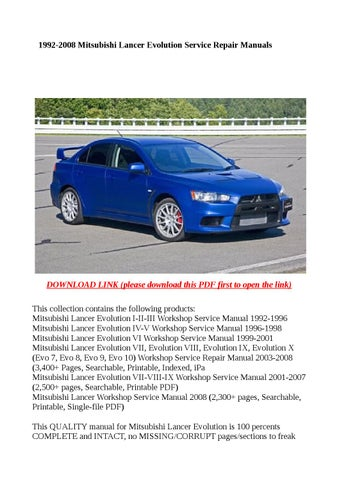 manual mitsubishi lancer 2008 pdf